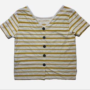Mustard Embroidered striped wooden button tee